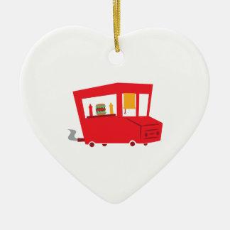 Camión de la comida adorno de cerámica en forma de corazón