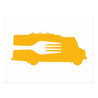 Camión de la comida: Lado/bifurcación (amarillo) Postal