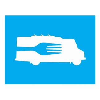 Camión de la comida: Lado/bifurcación (azul) Postal