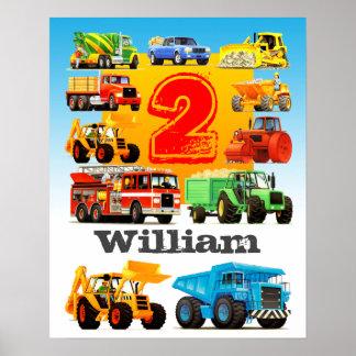 Camión de la construcción del cumpleaños del póster
