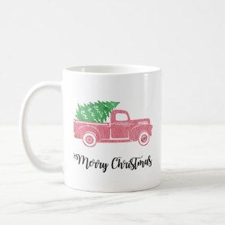 Camión de las Felices Navidad de la acuarela con Taza De Café