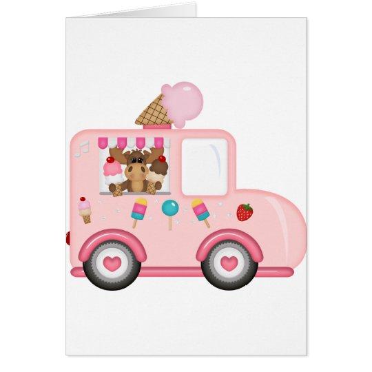 Camión del helado con los alces tarjeta de felicitación