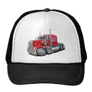 Camión del rojo de Kenworth w900 Gorro De Camionero