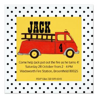 Camión del rojo del parque de bomberos del parque invitación 13,3 cm x 13,3cm
