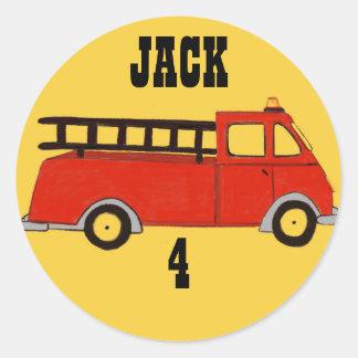 Camión del rojo del parque de bomberos del parque pegatina redonda
