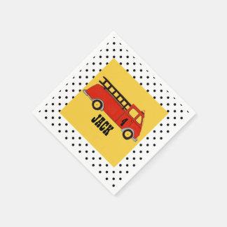 Camión del rojo del parque de bomberos del parque servilleta de papel