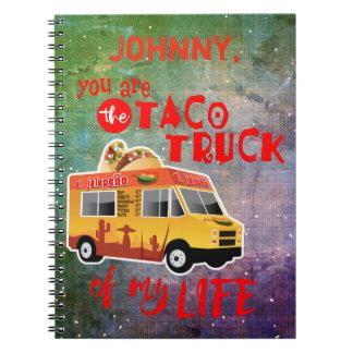 Camión del Taco de mi fondo del teñido anudado de Cuaderno