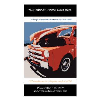 Camión restaurado estilo rojo del vintage de tarjetas de visita