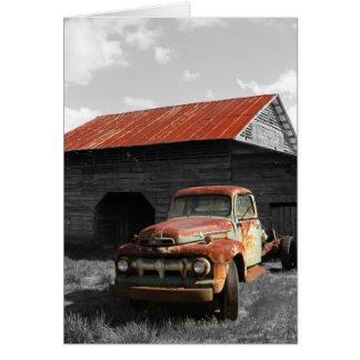 Camión viejo b/w tarjeta pequeña