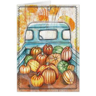 Camión viejo por completo de las calabazas tarjeta de felicitación