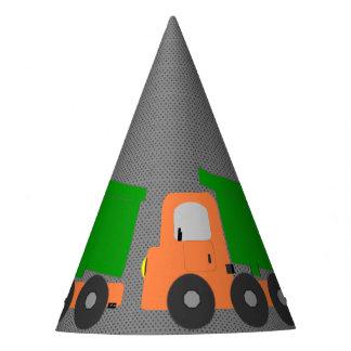 Camión volquete anaranjado gorro de fiesta