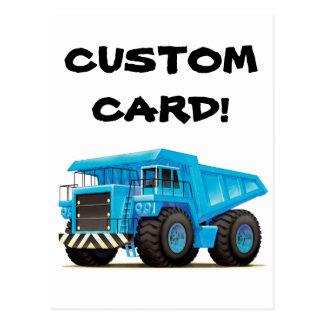 Camión volquete azul grande postal