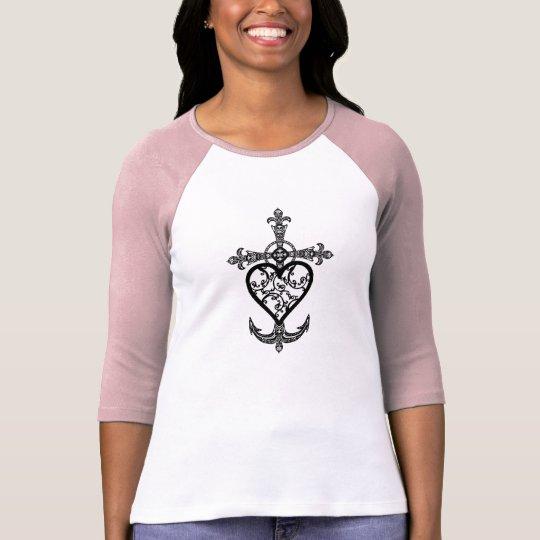 Camisa afiligranada del raglán del emblema de la