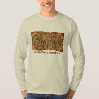 Camisa antigua del partidario de la paz de mundo