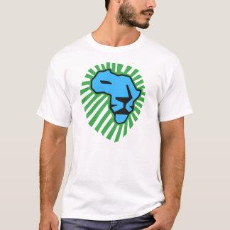 Camisa azul de Waka Waka de la melena del verde