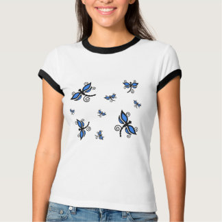 Camisa azul y negra de las libélulas