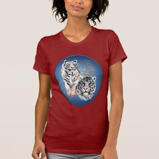 Camisa blanca del óvalo de dos tigres