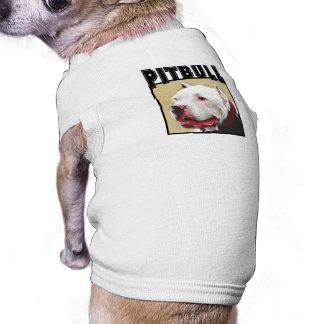 Camisa blanca del perro de Pitbull Camisetas De Perrito