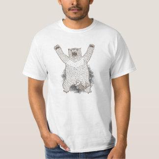 Camisa blanca del rugido divertido del oso de Grrr