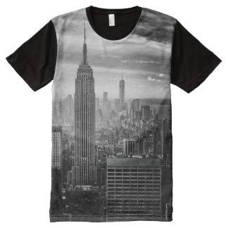 Camisa blanco y negro de moda de Nueva York Camiseta Con Estampado Integral
