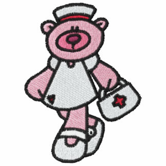 Camisa bordada enfermera rosada del oso de peluche sudadera con serigrafía