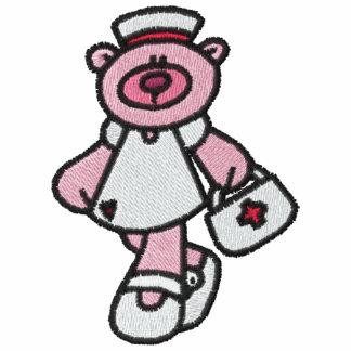 Camisa bordada enfermera rosada del oso de peluche sudadera bordada con serigrafia