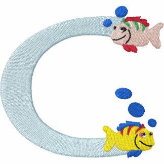 Camisa bordada monograma de los pescados de la