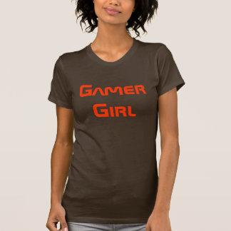 Camisa Brown del chica del videojugador y naranja