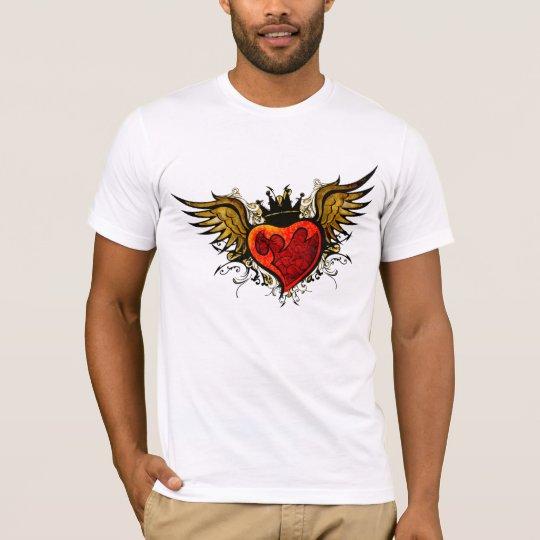 Camisa coa alas tatuaje del corazón del vintage