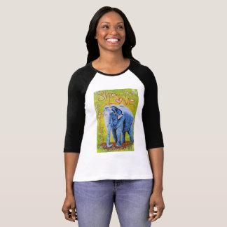 Camisa con mangas temática del raglán del elefante