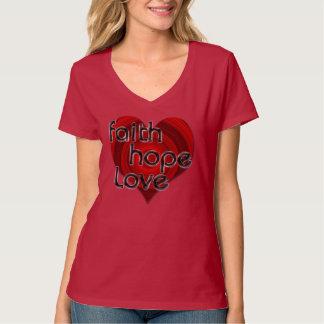 Camisa cristiana del corazón negro/rojo del amor