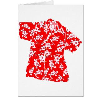 Camisa de hawaiana roja del hibisco tarjeta de felicitación