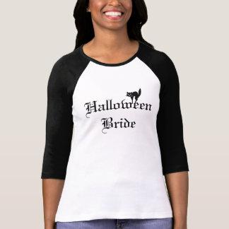 Camisa de la novia de Halloween con el gato negro