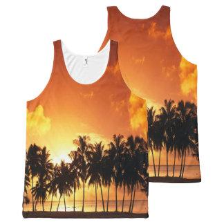 Camisa de la palma de la puesta del sol camiseta de tirantes con estampado integral