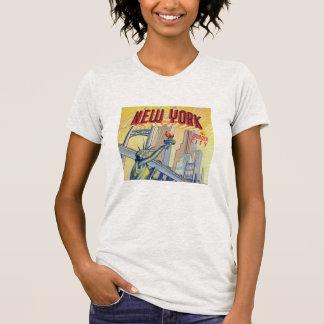Camisa de la postal de New York City del vintage
