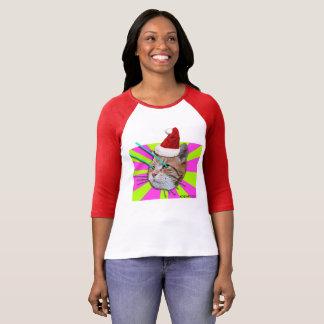 Camisa de las señoras del gorra de Santa del gato