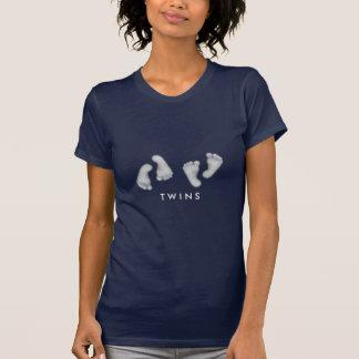 Camisa de los pies del bebé de los gemelos
