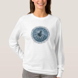 Camisa de manga larga azul del pulpo