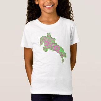 Camisa de salto rosada y verde del potro de