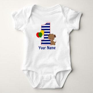 Camisa del cumpleaños de la raya de la marina de