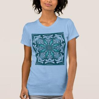 Camisa del damasco del Clematis de la turquesa