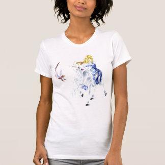 Camisa del gatito del unicornio y del vuelo