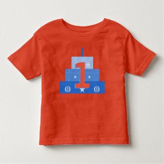 Camisa del muchacho del cumpleaños, azul y roja de