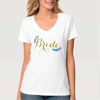 Camisa del oro y de la novia de las plumas
