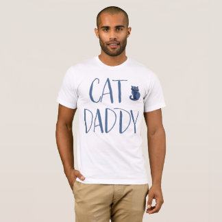 Camisa del papá del gato blanco y azul