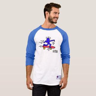 Camisa del raglán del hombre del monopatín del