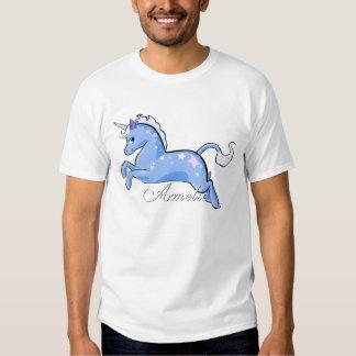 Camisa del unicornio de las estrellas azules