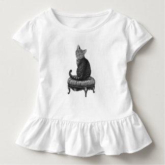 Camisa del volante de las niñas pequeñas del gato