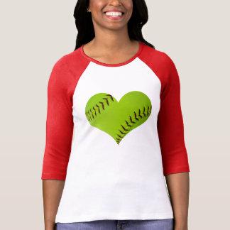 Camisa en forma de corazón del raglán del softball