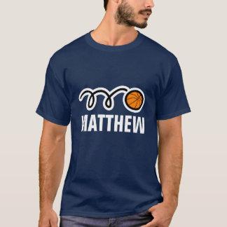 Camisa fresca del baloncesto con nombre y la bola